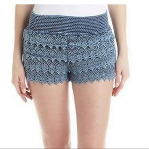 Hippie Laundry Cotton Crochet Shorts Large Blue